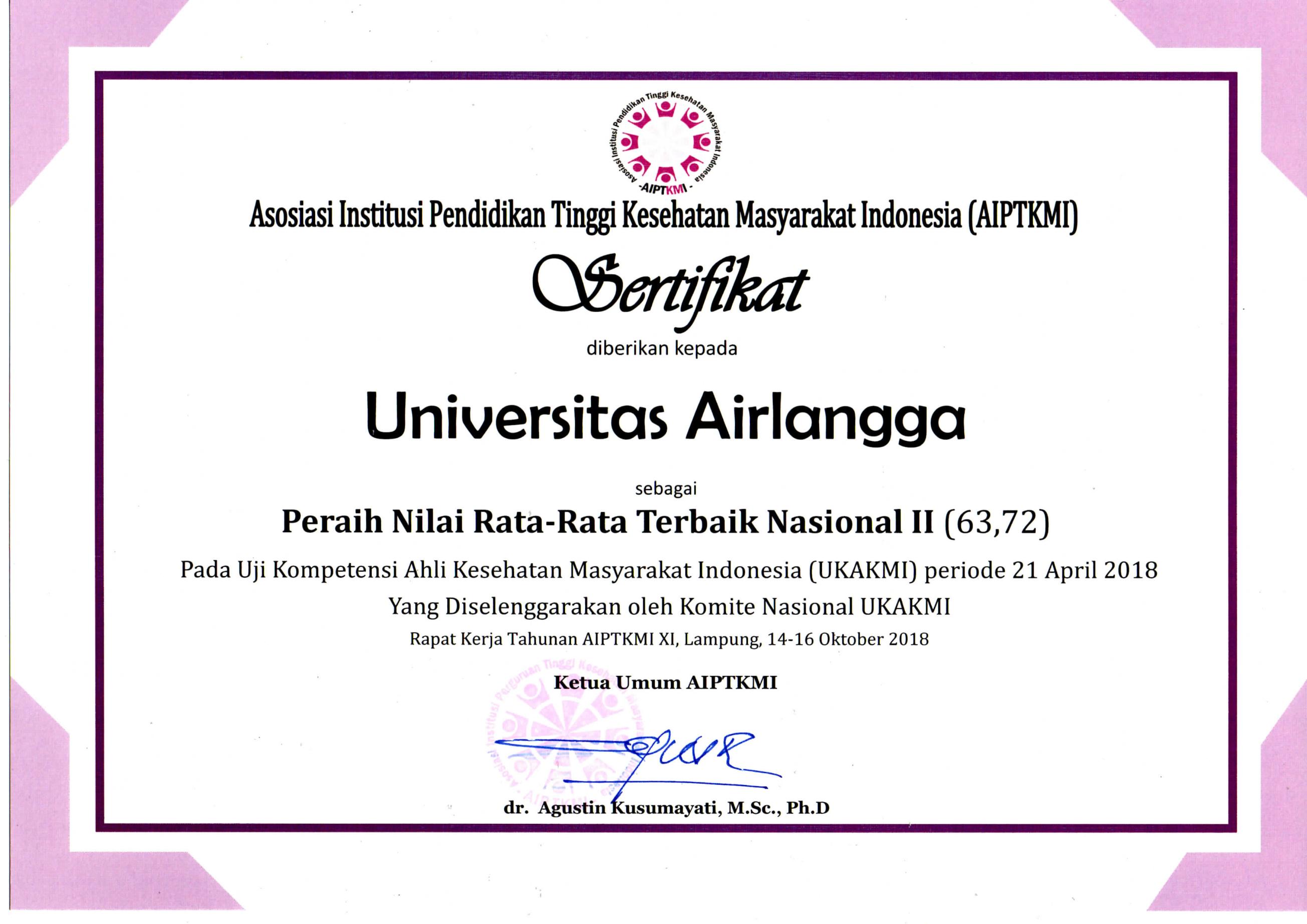 Universitas Airlangga Peraih Nilai Tertinggi Terbaik Nasional II